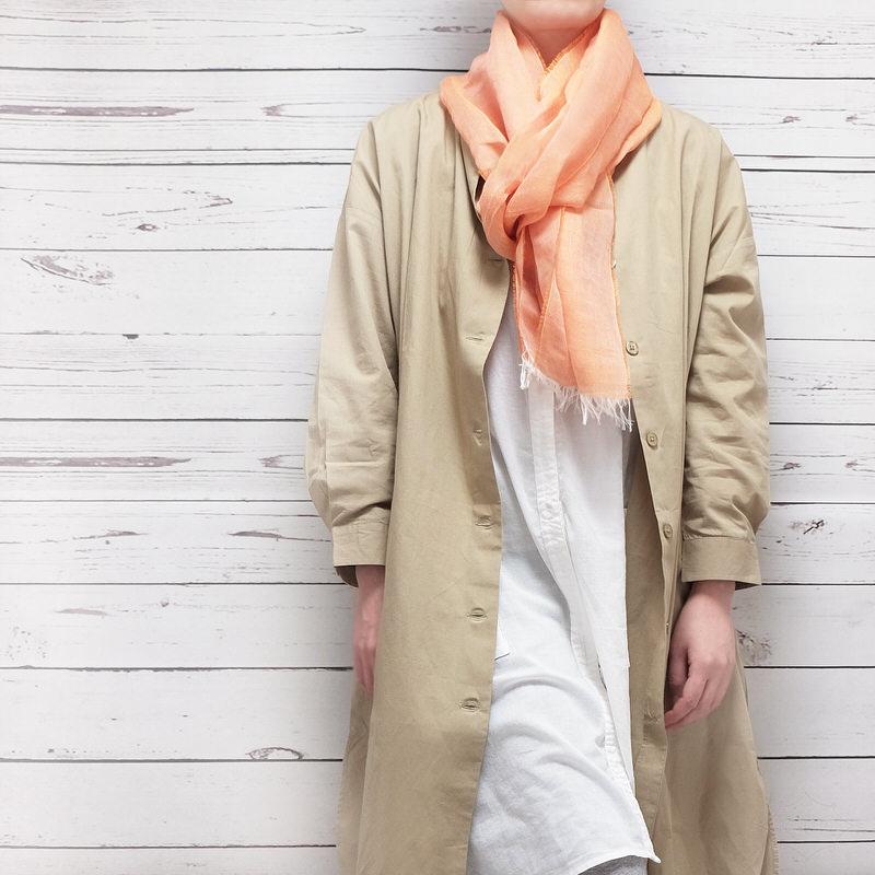 サマーストール 無地【オレンジ】自然素材のリネンコットン・さらさらシンプル/イタリア製 40*200cm 春夏ストール