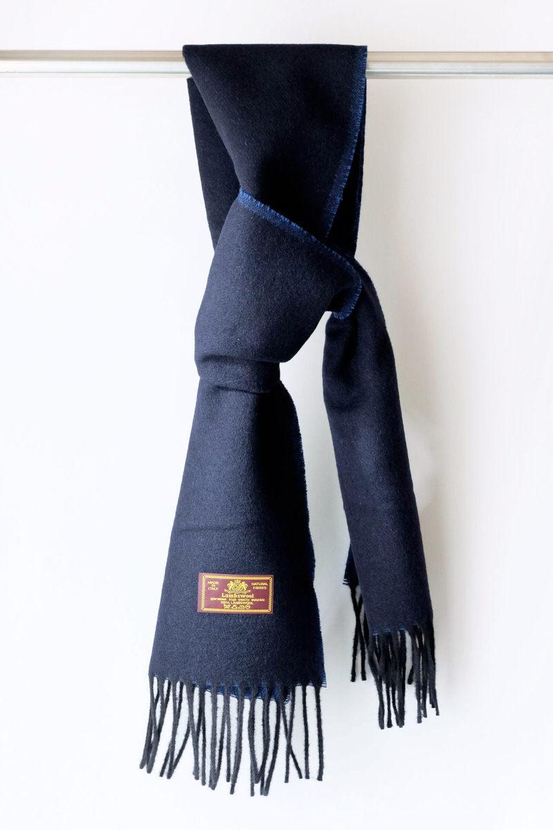 メンズマフラー【ネイビー/ブルー】リバーシブルウール混・イタリアの男性用マフラー 30cm幅*165cm/冬の防寒・通勤通学におすすめ