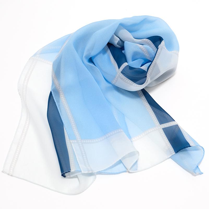 ストール イタリア製【ペルレ・ライトブルー】43cm*170cm 長方形ストール 春夏・母の日ギフトに/シルクジョーゼット・シャリ感が涼やかなシフォン