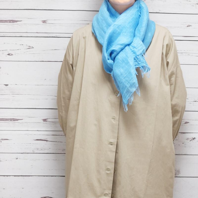 ストール 無地ワッシャータイプ【ブルー】リネンコットン 肌触りの良い自然素材/イタリア製 40*190cm 春夏ストール