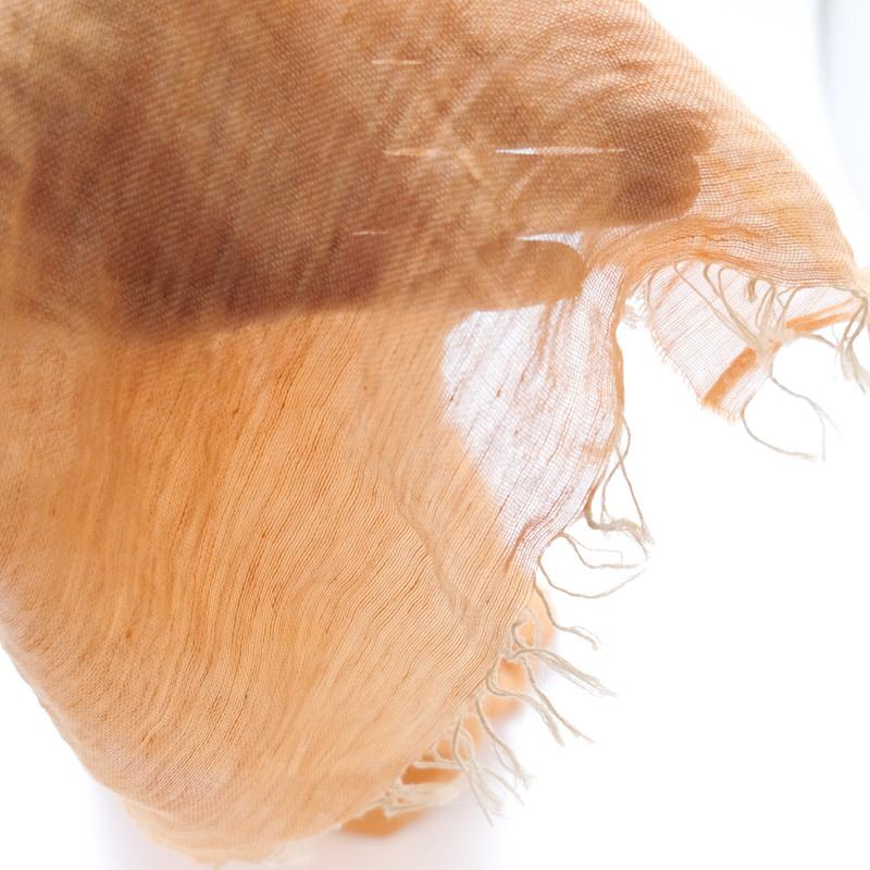 ストール 無地ワッシャータイプ【くすみオレンジ】リネンコットン 肌触りの良い自然素材/イタリア製 40*190cm 春夏ストール