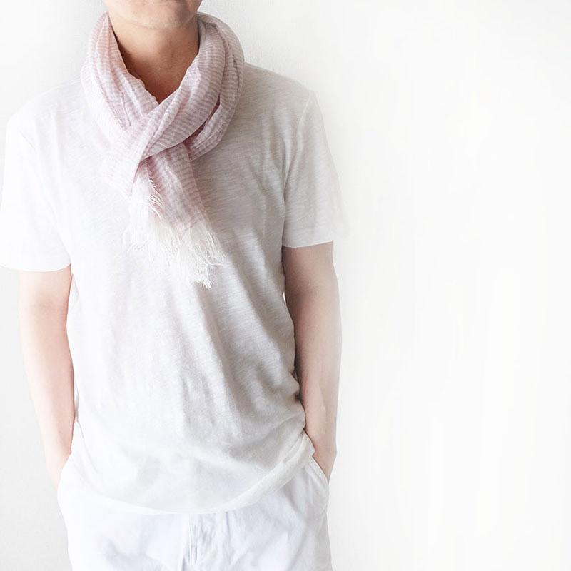 メンズ サマーストール 細ボーダー【ライトピンク】ナチュラルなリネン100%/イタリア製 42*185cm 春夏ストール