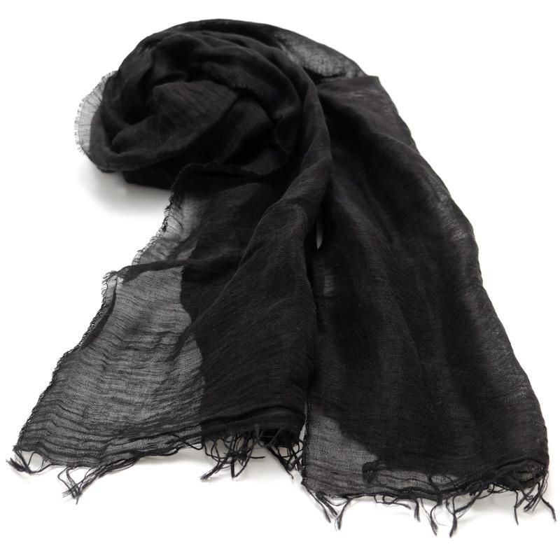 ストール 無地ワッシャータイプ【ブラック】リネンコットン 肌触りの良い自然素材/イタリア製 40*190cm 春夏ストール