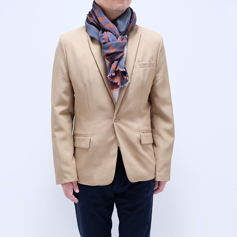メンズストール ジャケットに似合う【レッド ネイビー】シックなジオメトリック・ウール混/イタリア製 65cm*180cm 秋冬ストール
