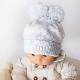 ベビー用ニット帽 耳付き【ブルー12ヶ月【1才】まで用】繊細なメリノウール100%・赤ちゃん1歳の誕生日お祝いにも/イタリア製 ベビー帽子