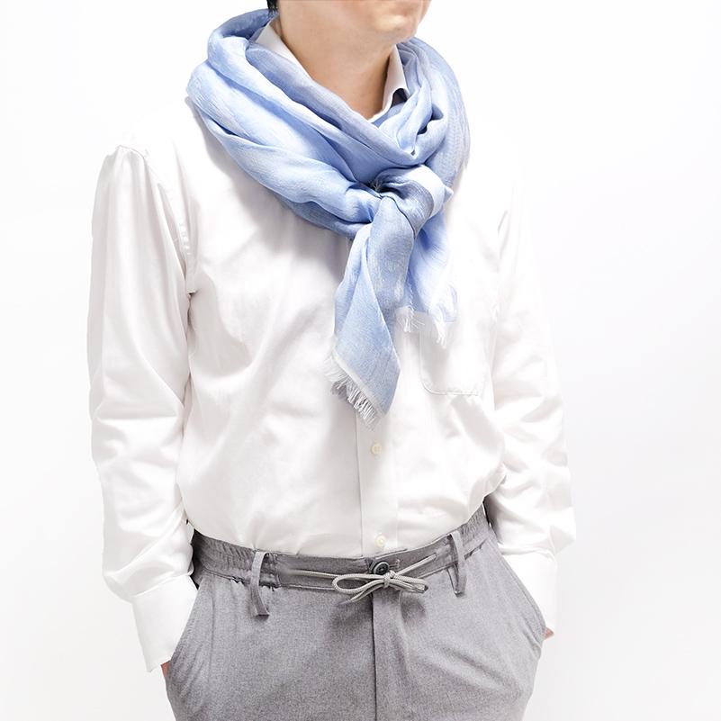 ジャガードストール イタリア製【ブルー・メラグラナ】78cm幅*195cm 長方形/男女兼用デザイン・春夏秋向きストール