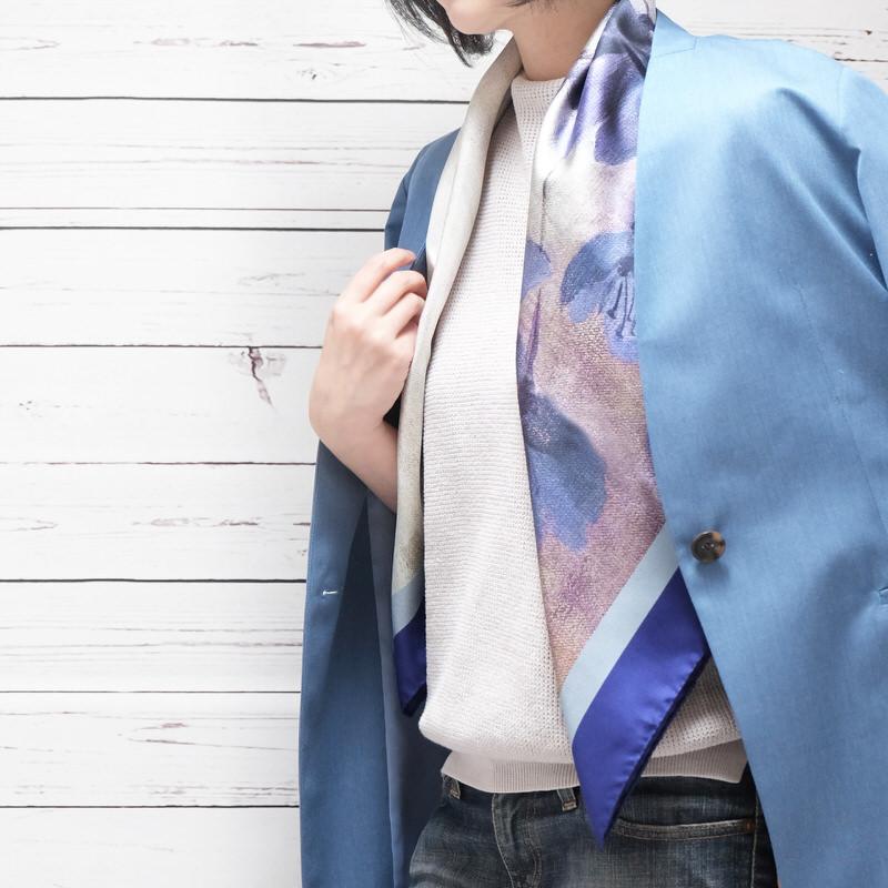 スカーフ マグノリア【ブルー】シルク100% 正統派ツイル/イタリア製 86cm正方形 1年中使えるスカーフ