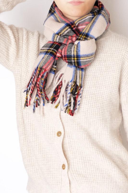 マフラー【チェック・ホワイト】ウール混・イタリアの女性用マフラー 30cm幅*170cm/冬の防寒・通勤通学におすすめ