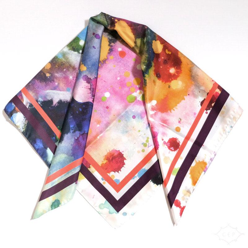 スカーフ ユニバース【MIX】シルク100% 正統派ツイル/イタリア製 87cm正方形 1年中使えるスカーフ