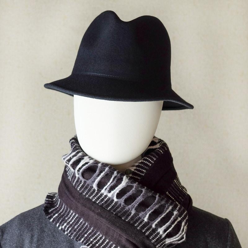 中折れフエルトハット 厚めしっかりシンプル【ネイビー】/イタリア製 メンズレディース兼用 サイズ57cm【M】秋冬帽子