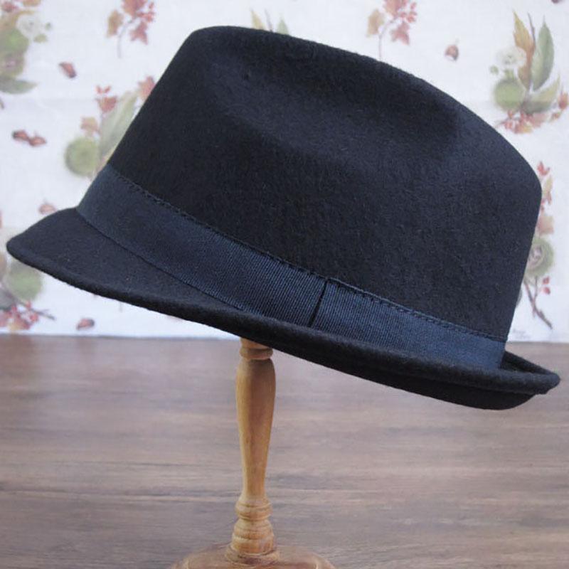 中折れフエルトハット 無地タイ付【ネイビー】/イタリア製 メンズレディース兼用 サイズ56.5cm【M】秋冬帽子