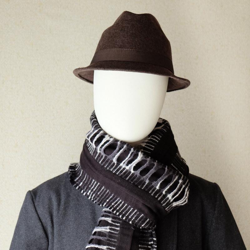 中折れフエルトハット 無地タイ付【ブラウン】/イタリア製 メンズレディース兼用 サイズ56.5cm【M】秋冬帽子