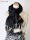 マフラー【無地・ブラック】ウール混・イタリアの女性用マフラー 39cm幅*200cm/冬の防寒・通勤通学に
