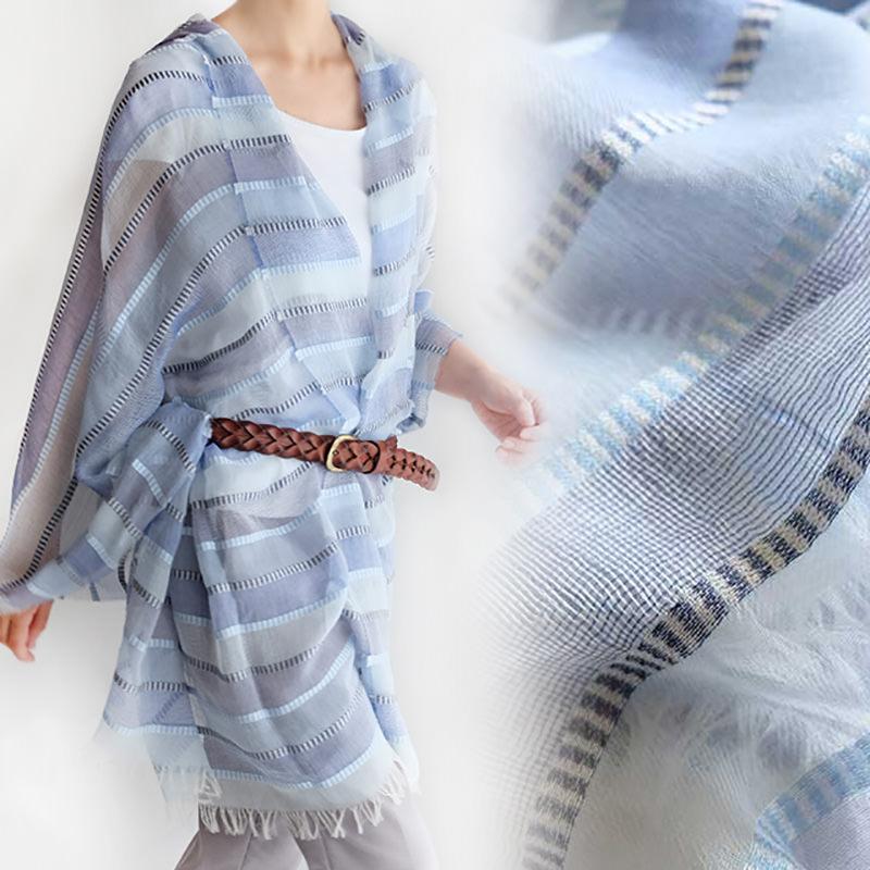 大判ショール 透け感のある組み織り【ブルー】コットン混・薄手でふんわり羽織れる大判/イタリア製 82*205cm 春夏ストール