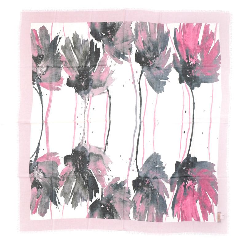正方形ストール ガーベラ【グレイッシュピンク】シルクモダール ふわっと軽やかな大判/イタリア製 115cm角 春夏ストール