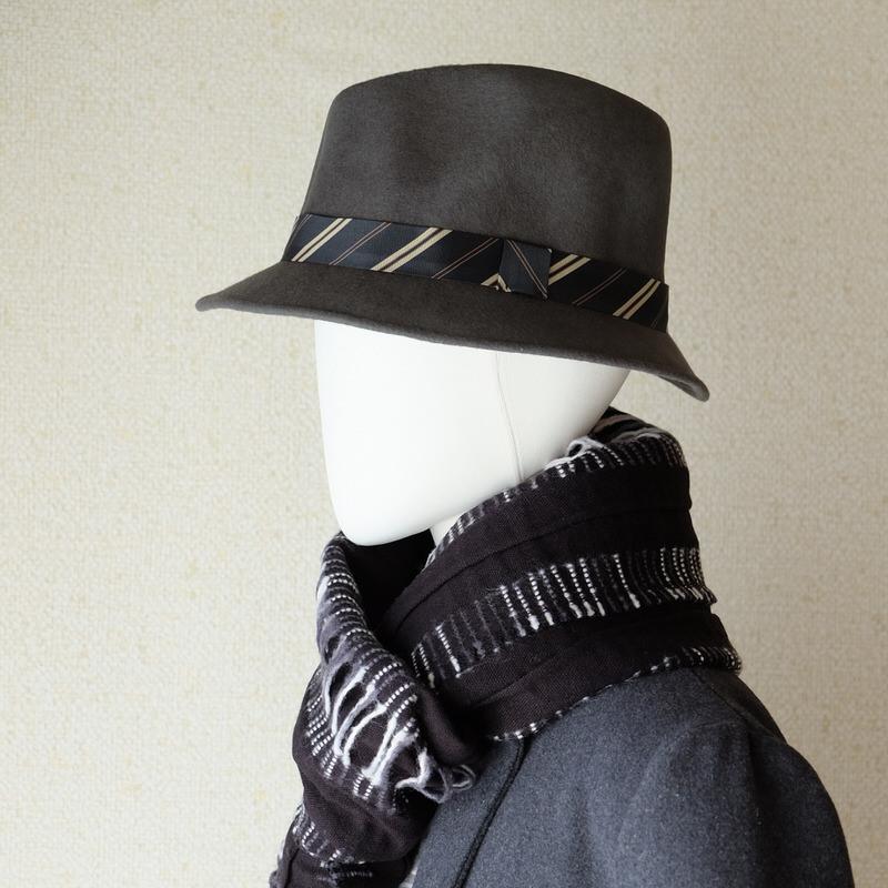 中折れフエルトハット おしゃれなタイ付き【ウォームグレー】/イタリア製 メンズレディース兼用 サイズ57.5cm【M】秋冬帽子