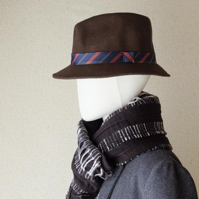 中折れフエルトハット おしゃれなタイ付き【ブラウン】/イタリア製 メンズレディース兼用 サイズ57.5cm【M】秋冬帽子