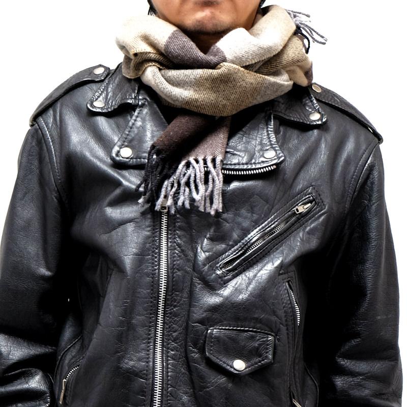 メンズマフラー【ブロック・ブラウン】イタリア製 男性向けマフラー 25*180cm/冬のマフラー