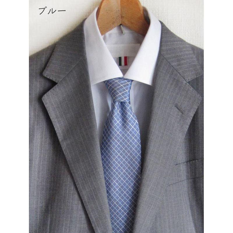 男性ネクタイ すっきりシンプル格子柄【ブルー】上品で美しい織り地のシルク100%・父の日ギフトにも/イタリア製 8*147cm ネクタイ