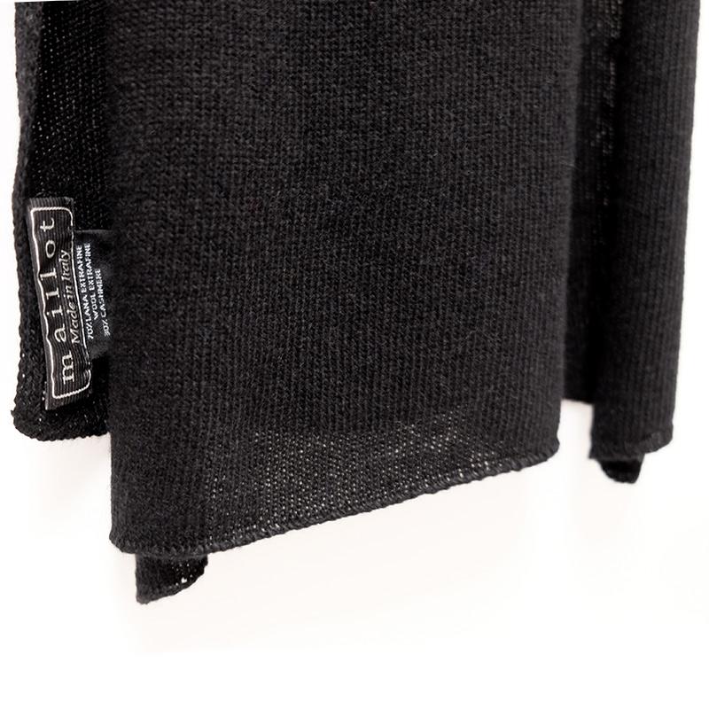 マフラー カシミヤウール混【new ブラック】カシミアが得意なミラノのファクトリーブランド/32幅*190cm/レディースマフラー