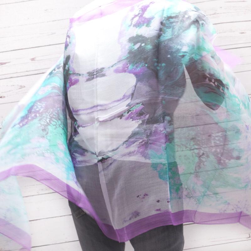 春夏ストール インクブロット【ワイン】シルクモダール ふわっと軽やかなストール イタリア製 67*170cm 男性女性兼用デザイン