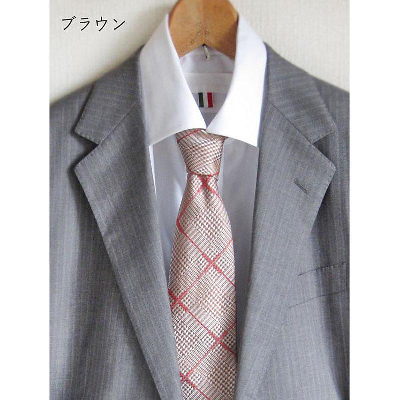 男性ネクタイ おしゃれな千鳥柄【ブラウン】上品で美しい織り地のシルク100%・父の日ギフトにも/イタリア製 8*147cm ネクタイ