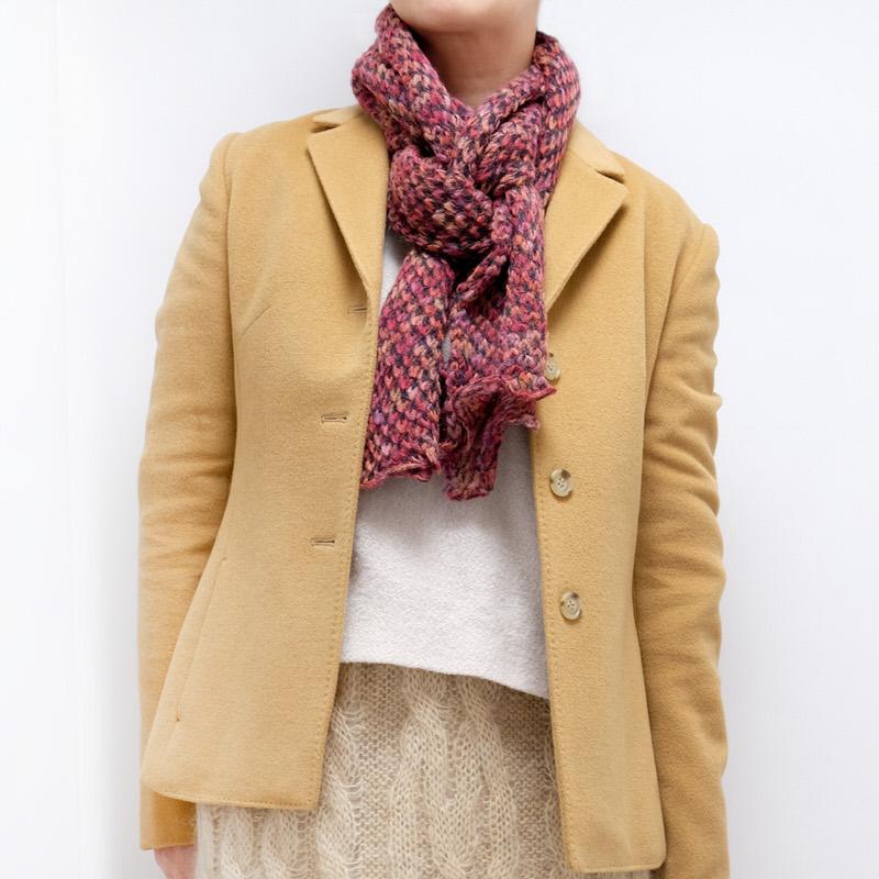 マフラー【レース・ピンク】ニット編み・イタリアの女性用マフラー 33*166cm/冬のレディースマフラー