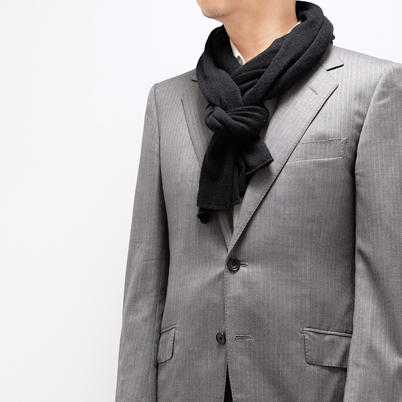 メンズマフラー カシミヤウール混【new ブラック】カシミアが得意なミラノのファクトリーブランド/32幅*190cm/男性マフラー