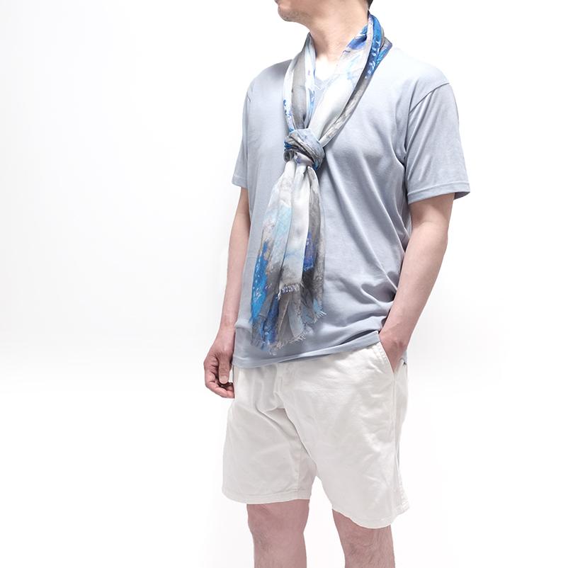 春夏ストール インクブロット【グレー】シルクモダール ふわっと軽やかなストール イタリア製 67*170cm 男性女性兼用デザイン