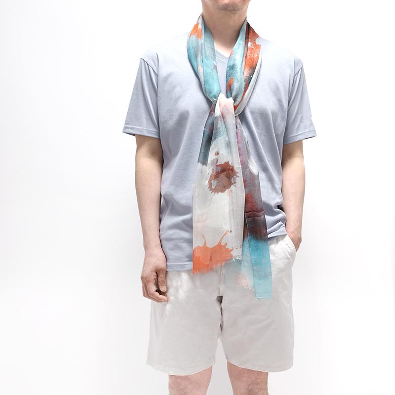 春夏ストール 水彩ドット【オレンジMIX】シルクモダール ふわっと軽やかなストール イタリア製 67*170cm 男性女性兼用デザイン