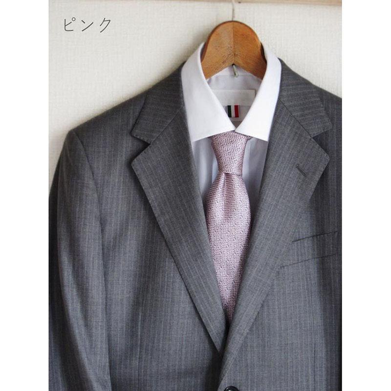 男性ネクタイ 点描画のようなこだわり生地【ピンク】上品で美しい織り地のシルク100%・父の日ギフトにも/イタリア製 8*147cm ネクタイ