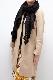 ショール【剣先レース・ブラック】ニット編み・イタリアの女性用ショール 65*180cm/冬のレディースマフラー