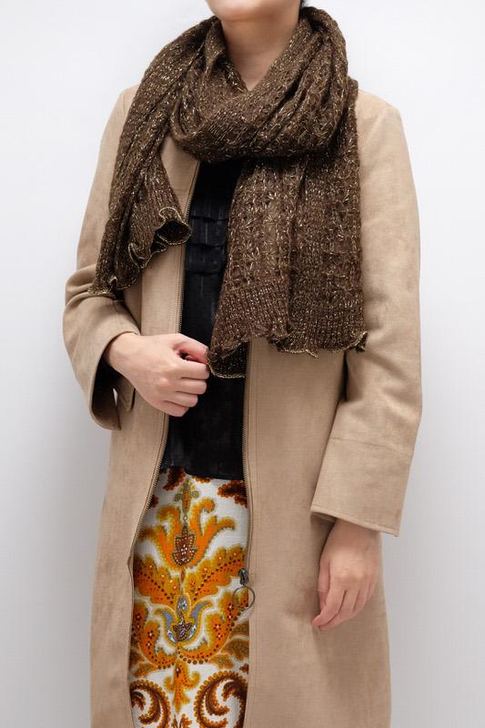 ラメショール【レース・ブラウン】モヘヤニット編み・イタリアの女性用ショール 40*170cm/冬のレディースマフラー