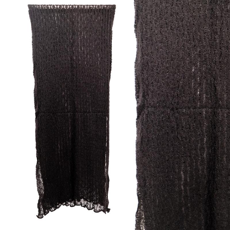 ショール【レース・ブラック】ニット編み・イタリアの女性用ショール 46*210cm/冬のレディースストール