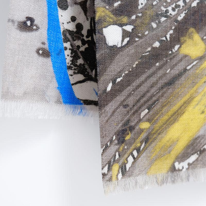 メンズストール・おしゃれな薄手マフラー【ペネッロ・カーキブラウン】21cm幅*175cm 長方形 イタリア製 秋冬春向き