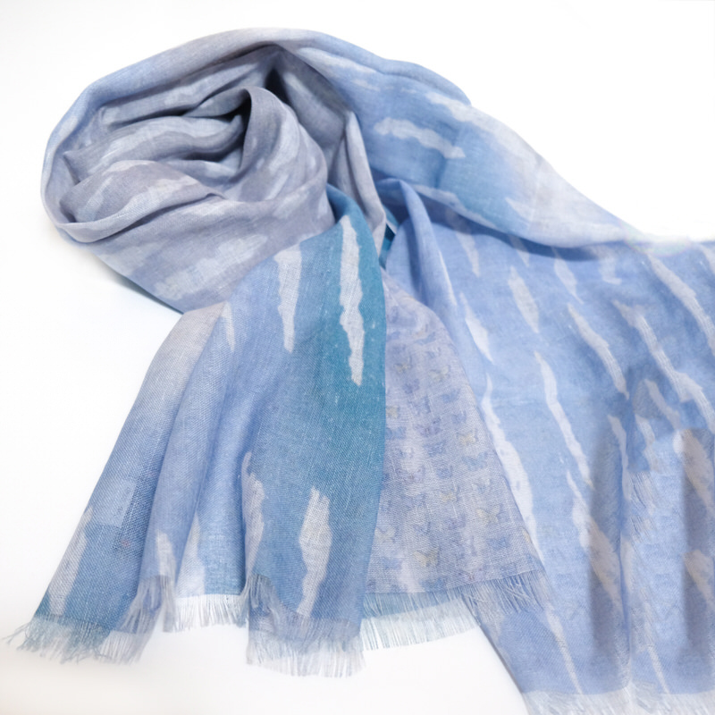 メンズストール  スカイバタフライ【ブルー】リネンコットン Wプリント/イタリア製  67*198cm 春夏ストール