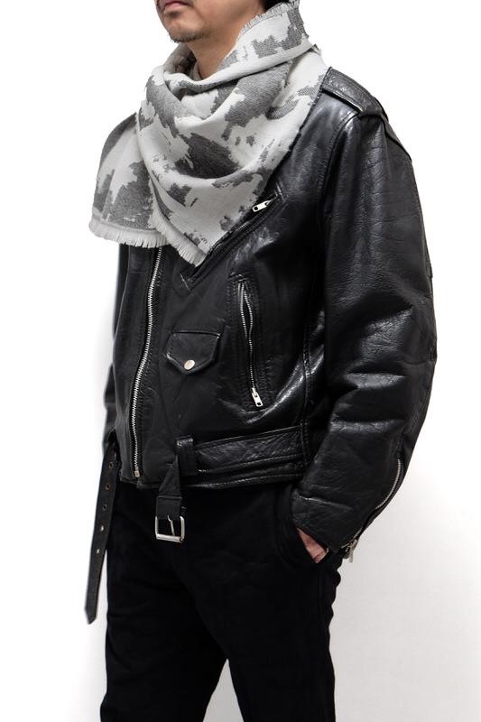 メンズストール【ジャガード・グレー】イタリア製 男性向けストール 42*170cm/冬のストール