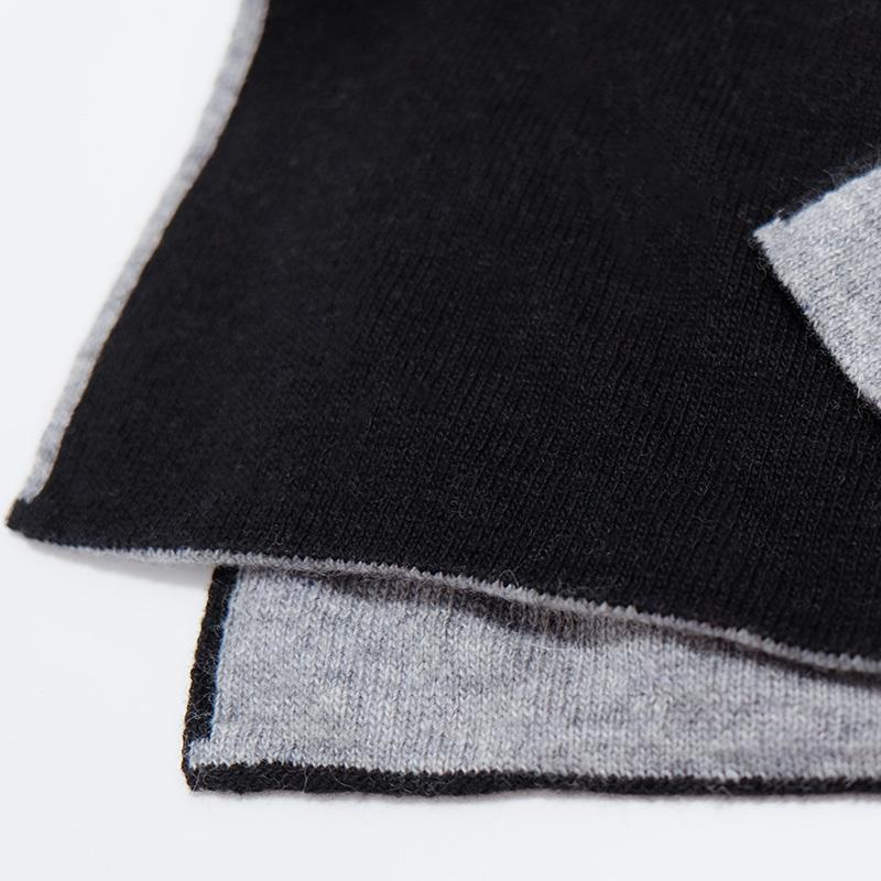 マフラーメンズ【ブラック&グレー色・ドッピオ】カシミアウール混 ミラノのファクトリーブランド/28cm幅*180cm/男性マフラー