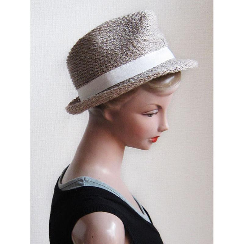 リネン混ハット【SALE】ナチュラルな濃いめ色/イタリア製 女性向け 頭周り56cm【S】春夏帽子