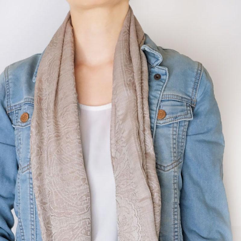 スカーフ イタリアンクラシック【モカベージュ】唐草ジャガード織り・ウールシルク/イタリア製 45cm*178cm 1年中使えるスカーフ
