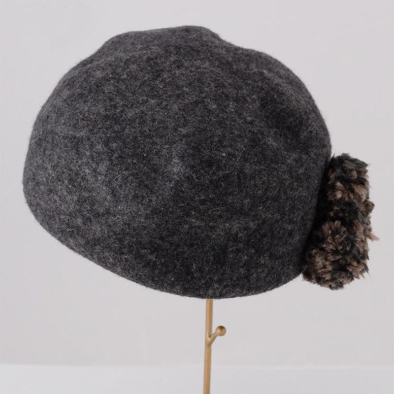 フエルトハット【展示品SALE】キャスケット・杢グレー色/イタリア製 女性向け 頭周り56.5cm【M】秋冬帽子