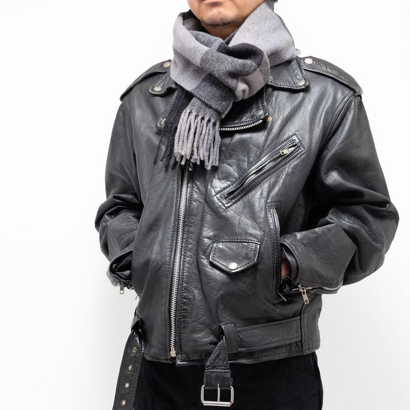 メンズマフラー【ブロック・ブラック】イタリア製 男性向けマフラー 25*180cm/冬のマフラー