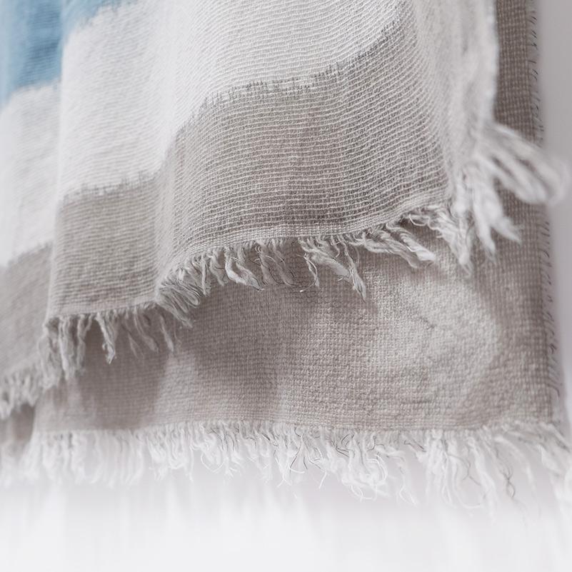 メンズストール 大判【カーキ×スカイブルー色・スフォカーレ(にじみ)】85cm幅*210cm 長方形 イタリア製 秋冬向き
