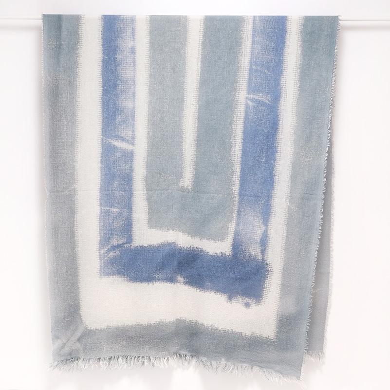 大判ストール レディース【ブルー×ブルー色・スフォカーレ(にじみ)】85cm幅*210cm 長方形 イタリア製 秋冬向き
