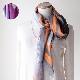 スカーフ 水彩風バレエプリント【オレンジグレー】シルクカシミヤ混・正方形ストール/イタリア製 120cm角 1年中使えるスカーフ
