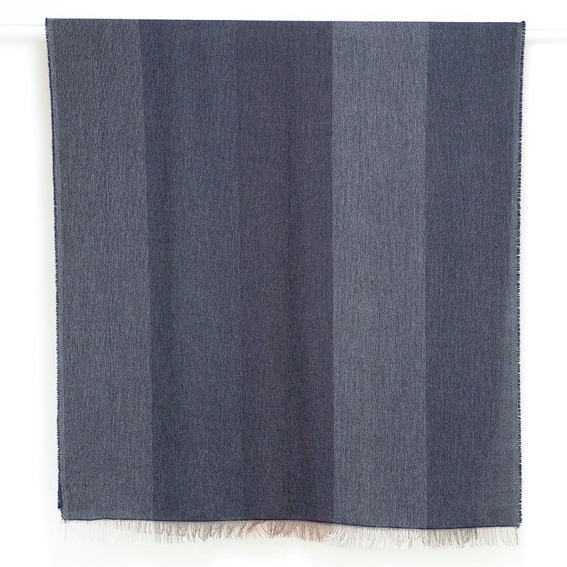 メンズストール 大判【ブロッコ・ブルー(青色系)】90cm幅*200cm 長方形 イタリア製 秋冬向き