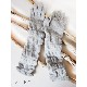 ニット手袋 ロング【ライトグレー】ウール混・ぬくぬく可愛いニットグローブ/イタリア製 長さ40cm 秋冬 手袋