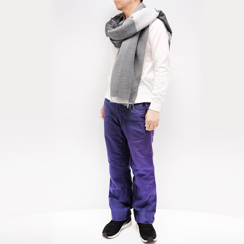 メンズストール 大判【ブロッコ・グレー(灰色系)】90cm幅*200cm 長方形 イタリア製 秋冬向き