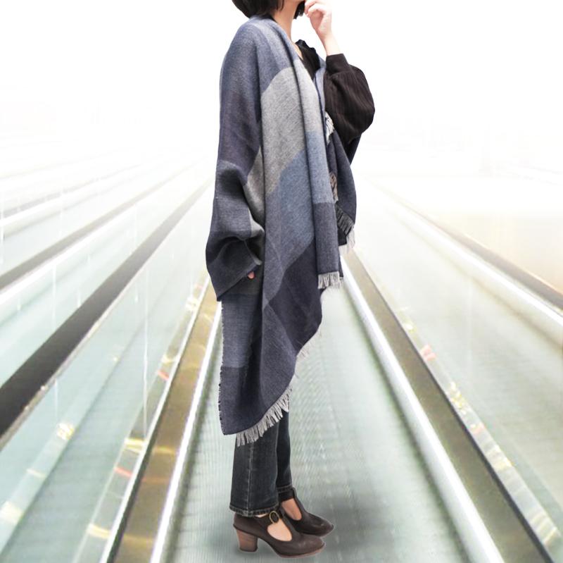 大判ストール レディース【ブロッコ・ブルー(青色系)】90cm幅*200cm 長方形 イタリア製 秋冬向き