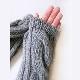 アームウォーマー ニット【グレー】ウール混・中太毛糸のシンプルなウォーマー/イタリア製 長さ37cm 秋冬 手袋